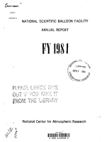 National Scientific Balloon Facility Annual Report FY 1981