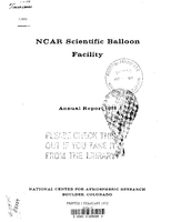 NCAR Scientific Balloon Facility Annual Report 1971