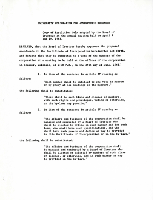 copy of resolution duly adopted by the board of trustees