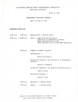 Preliminary discussion schedule: April 10 and 11, 1963