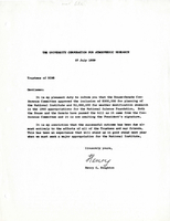 Correspondence, Henry G. Houghton to trustees of UCAR