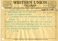 Correspondence, telegram from I.M. Pei to Walter Orr Roberts