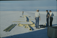 Photograph, Salt Flats, assembly of launch wagon and balloon launch