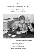 The Director's Quarterly Report First Quarter 1957