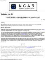 RAF Bulletin 21: Pressure measurement from NCAR aircraft (updated 1991)
