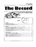 Record Newsletter of the Scientific Computing Division Volume 3 Issue 6