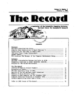 Record Newsletter of the Scientific Computing Division Volume 4 Issue 1