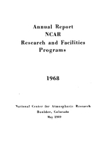 1968 Annual Report NCAR Research and Facilities Programs