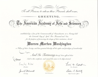 Membership certificate, American Academy of Arts and Sciences