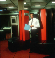Photograph, Warren Washington and CRAY supercomputer