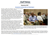 Staff Notes article, Symposium salutes Warren Washington