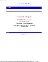 Presentation, Treasurer's Report, October 2000