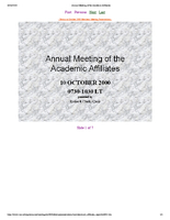 Presentation, Annual Meeting of the Academic Affiliates, October 2000
