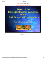 Presentation, University Relations Committee, October 2000