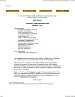 University Relations Committee Report, October 2003
