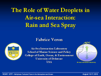 The role of water droplets in air-sea interaction: Rain and sea spray