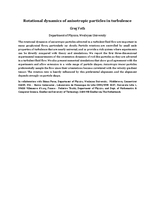 Rotational dynamics of anisotropic particles in turbulence [abstract]
