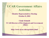Presentation, UCAR Government Affairs Activities, October 2003