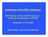 Presentation, Scientific Programs Evaluation Committee Report, October 2003