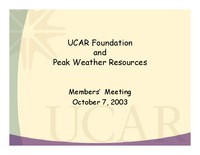 Presentation, UCAR Foundation, October 2003