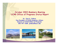 Presentation, UCAR Office of Programs Director, October 2003
