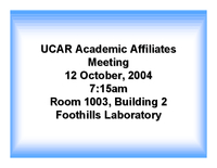 Presentation, Academic Affiliates, October 2004