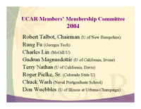Presentation, UCAR Members' Membership Committee, October 2004