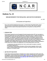 RAF Bulletin 23: Measurement techniques: Air motion sensing (updated 2001)