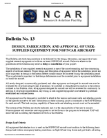 RAF Bulletin 13: Design, fabrication, and approval of user-supplied equipment for NSF/NCAR aircraft (updated 2002)