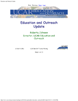 Presentation, Education and Outreach Update, October 2002