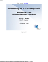 Presentation, Implementing the NCAR Strategic Plan, October 2002