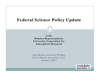 Presentation, Federal Science Policy Update, October 2007