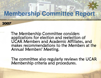 Presentation, UCAR Members' Membership Committee, October 2007