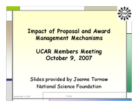 Presentation, NSF Report, October 2007