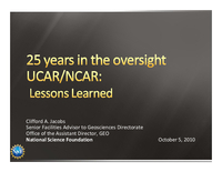 Presentation, UCAR's 50th Anniversary Lessons Learned, October 2010