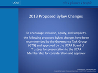 Presentation, UCAR Bylaw Amendments, October 2013