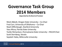 Governance Task Group Members, October 2014