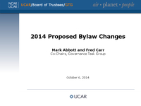 Presentation, Governance Task Group Proposed Bylaw Amendments, October 2014