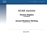 Presentation, UCAR President's Report, October 2014