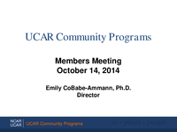 Presentation, UCAR Community Programs Director's Report, October 2014