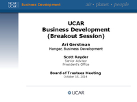 Presentation, University Collaboration and Research Expo Break-Out Session on Business Development, October 2014