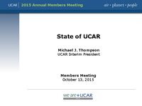 Presentation, UCAR President's Report, October 2015