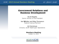 Presentation, UCAR Government Relations and Business Development Report, October 2015