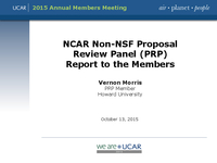 Presentation, NCAR Non-NSF Proposal Review Panel Report, October 2015