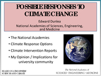 Presentation, Climate Change Impacts Panel Discussion, October 2015