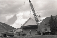 Climax Observatory dome as it is lowered onto base