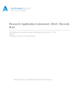Research Applications Laboratory (RAL) Records