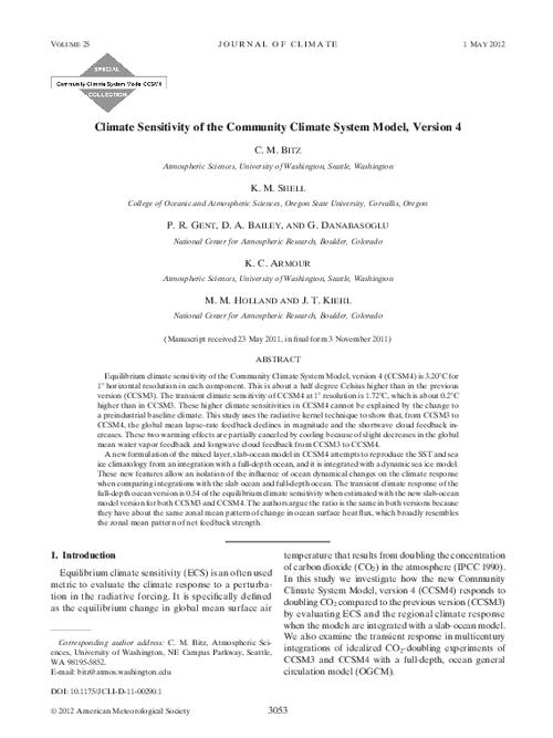 Climate sensitivity of the Community Climate System Model, version 4 ...