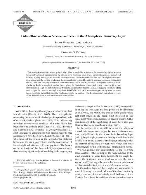 Lidar Observed Stress Vectors And Veer In The Atmospheric Boundary