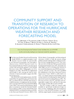 Community support and transition of research to operations for the Hurricane Weather Research and Forecasting Model